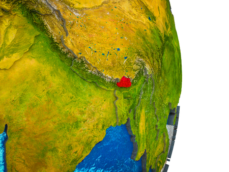 Bhutan on 3D model of Earth with divided countries and blue oceans. 3D illustration. Stok Fotoğraf - 112256615