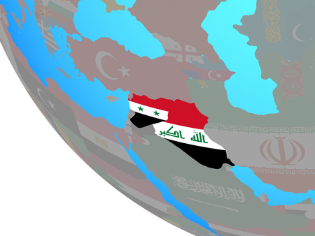 Islamic State with national flags on simple globe. 3D illustration. Banco de Imagens