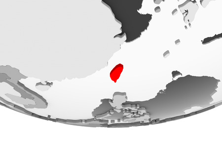 Taiwan in red on grey political globe with transparent oceans. 3D illustration.