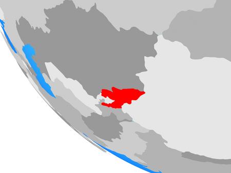 Kyrgyzstan on simple globe. 3D illustration. Stock Photo