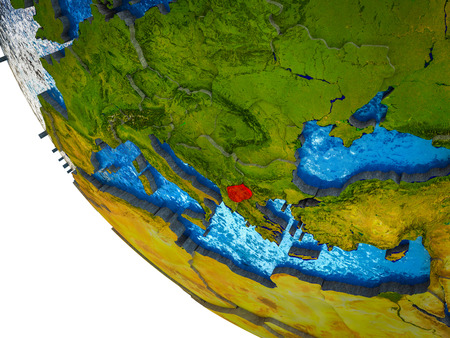 Macedonia on model of Earth with country borders and blue oceans with waves. 3D illustration.