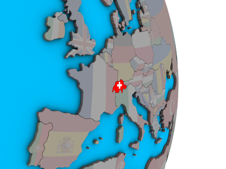 Switzerland with embedded national flag on simple political 3D globe. 3D illustration. Banque d'images - 112256793