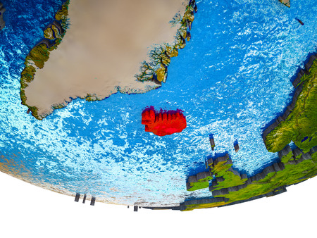 Iceland on 3D Earth with divided countries and watery oceans. 3D illustration. Stok Fotoğraf - 112256833