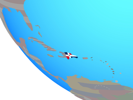 Dominican Republic with national flag on simple globe. 3D illustration.