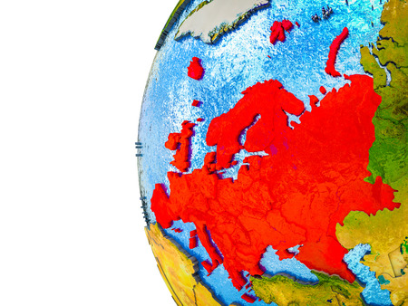 Europe highlighted on 3D Earth with visible countries and watery oceans. 3D illustration.