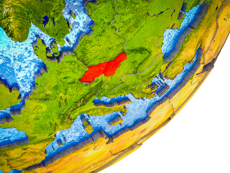 Former Czechoslovakia on 3D model of Earth with water and divided countries. 3D illustration. Stok Fotoğraf
