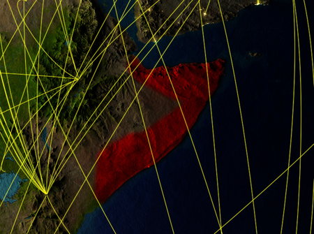 Somalia from space on model of planet Earth with networks. Detailed planet surface with city lights. 3D illustration. Stock Photo