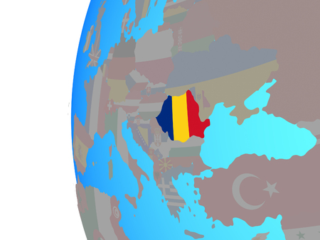 Romania with embedded national flag on blue political globe. 3D illustration. 스톡 콘텐츠