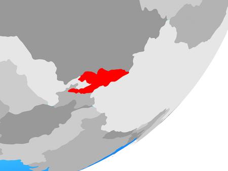 Kyrgyzstan on blue political globe. 3D illustration.