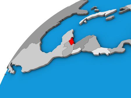 Belize on 3D globe. 3D illustration. Stock Photo