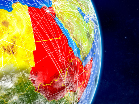 Northeast Africa on planet Earth with networks. Extremely detailed planet surface and clouds. 3D illustration.