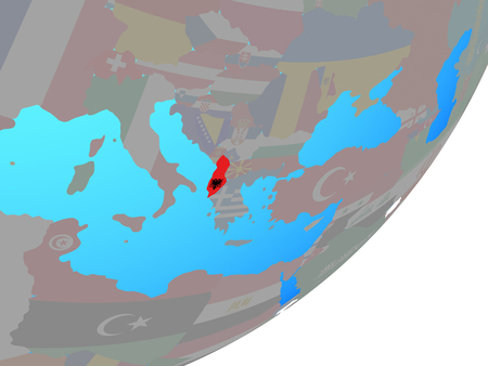 Albania with embedded national flag on blue political globe. 3D illustration. Stock Photo