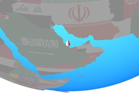 Qatar with national flag on simple political globe. 3D illustration. Stock Illustration - 112257203