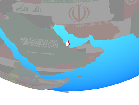 Qatar with national flag on simple political globe. 3D illustration.