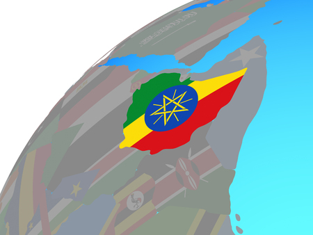 Ethiopia with embedded national flag on globe. 3D illustration.