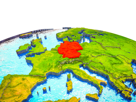 Germany on 3D Earth with visible countries and blue oceans with waves. 3D illustration. Reklamní fotografie