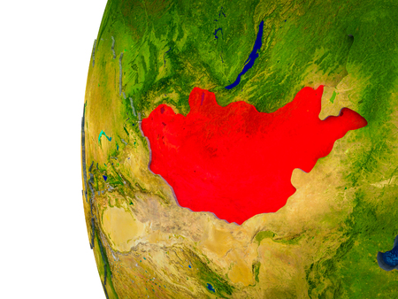 Mongolia highlighted on 3D Earth with visible countries and watery oceans. 3D illustration. Stock Photo