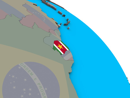 Suriname with embedded national flag on simple blue political 3D globe. 3D illustration.