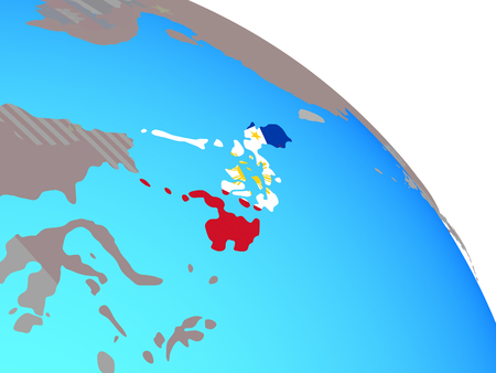 Philippines with national flag on simple blue political globe. 3D illustration. Stock Photo