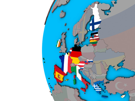 Eurozone member states with national flags on blue political 3D globe. 3D illustration.