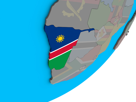 Namibia with national flag on blue political 3D globe. 3D illustration.