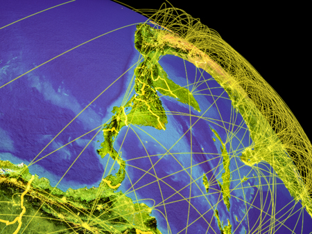 Central America from space with country borders and trajectories representing global communication, travel, connections. 3D illustration. Stock Photo