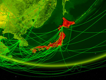 Japan on green model of planet Earth with network representing digital age, travel and communication. 3D illustration.