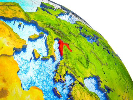 Croatia Highlighted on 3D Earth model with water and visible country borders. 3D illustration. Imagens