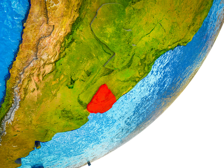 Uruguay on 3D model of Earth with water and divided countries. 3D illustration.
