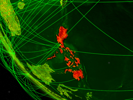 Philippines on digital planet Earth from space with network. Concept of international communication, technology and travel. 3D illustration.