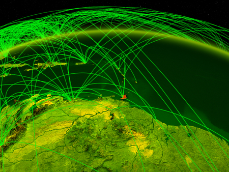 Caribbean on digital planet Earth with international network representing communication, travel and connections. 3D illustration. Foto de archivo