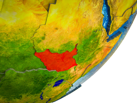 South Sudan on 3D model of Earth with water and divided countries. 3D illustration.