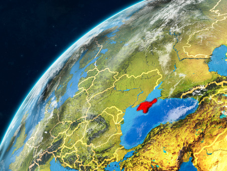 Crimea on realistic model of planet Earth with country borders and very detailed planet surface and clouds. 3D illustration. Stock Photo