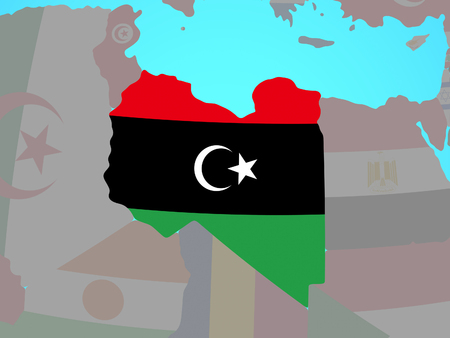 Libya with national flag on blue political globe. 3D illustration. Stock Photo