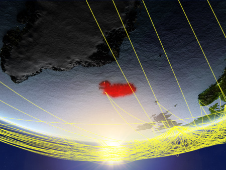 Iceland on model of planet Earth in sunrise with network representing travel and communication. 3D illustration.