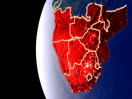 Night view of Southern Africa from space with visible city lights. Very detailed plastic planet surface. 3D illustration.
