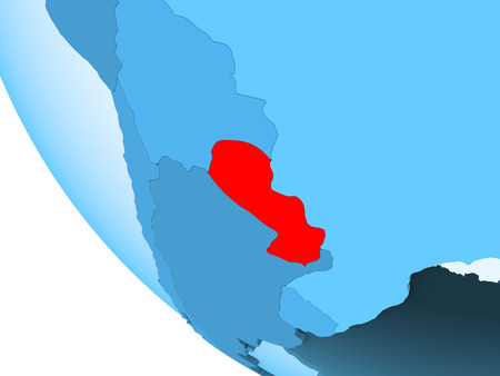 Paraguay highlighted in red on blue political globe with transparent oceans. 3D illustration. Stock Photo