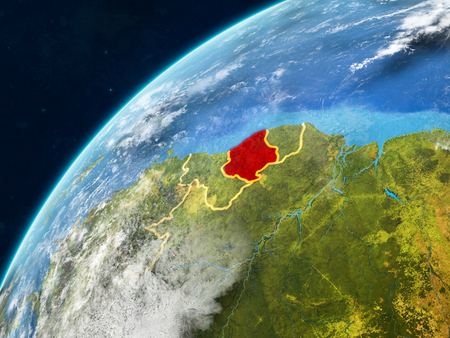 Suriname on realistic model of planet Earth with country borders and very detailed planet surface and clouds. 3D illustration.