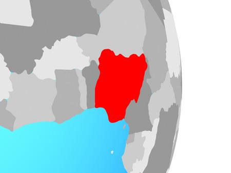 Nigeria on simple political globe. 3D illustration.