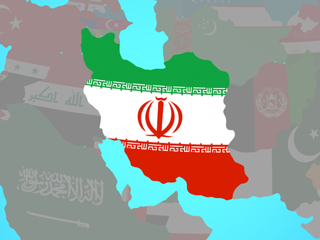 Iran with national flag on blue political globe. 3D illustration. 版權商用圖片