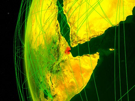 Djibouti from space on digital model of Earth with international networks. Concept of digital communication or travel. 3D illustration.