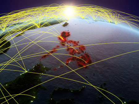 Philippines on planet Earth during dawn with international network representing communication, travel and connections. 3D illustration.