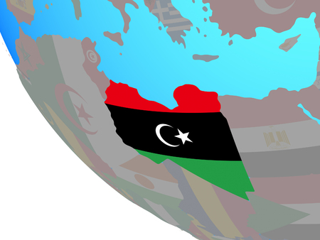 Libya with national flag on simple globe. 3D illustration.