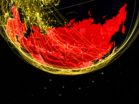 Asia on dark Earth with networks. Concept of intercontinental connections. 3D illustration.