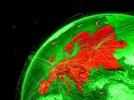 Europe on green Earth with network representing intercontinental connections. 3D illustration.