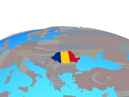 Romania with national flag on political globe. 3D illustration. Imagens - 112258307