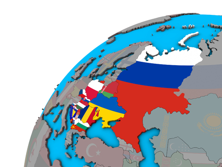 Eastern Europe with national flags on 3D globe. 3D illustration. 版權商用圖片