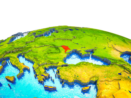 Moldova on 3D Earth with visible countries and blue oceans with waves. 3D illustration.