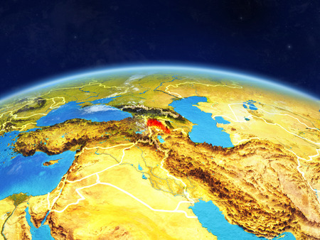 Armenia on planet Earth with country borders and highly detailed planet surface and clouds. 3D illustration.