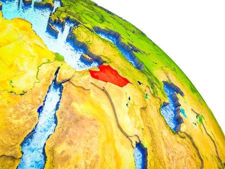 Syria Highlighted on 3D Earth model with water and visible country borders. 3D illustration. Stock Photo